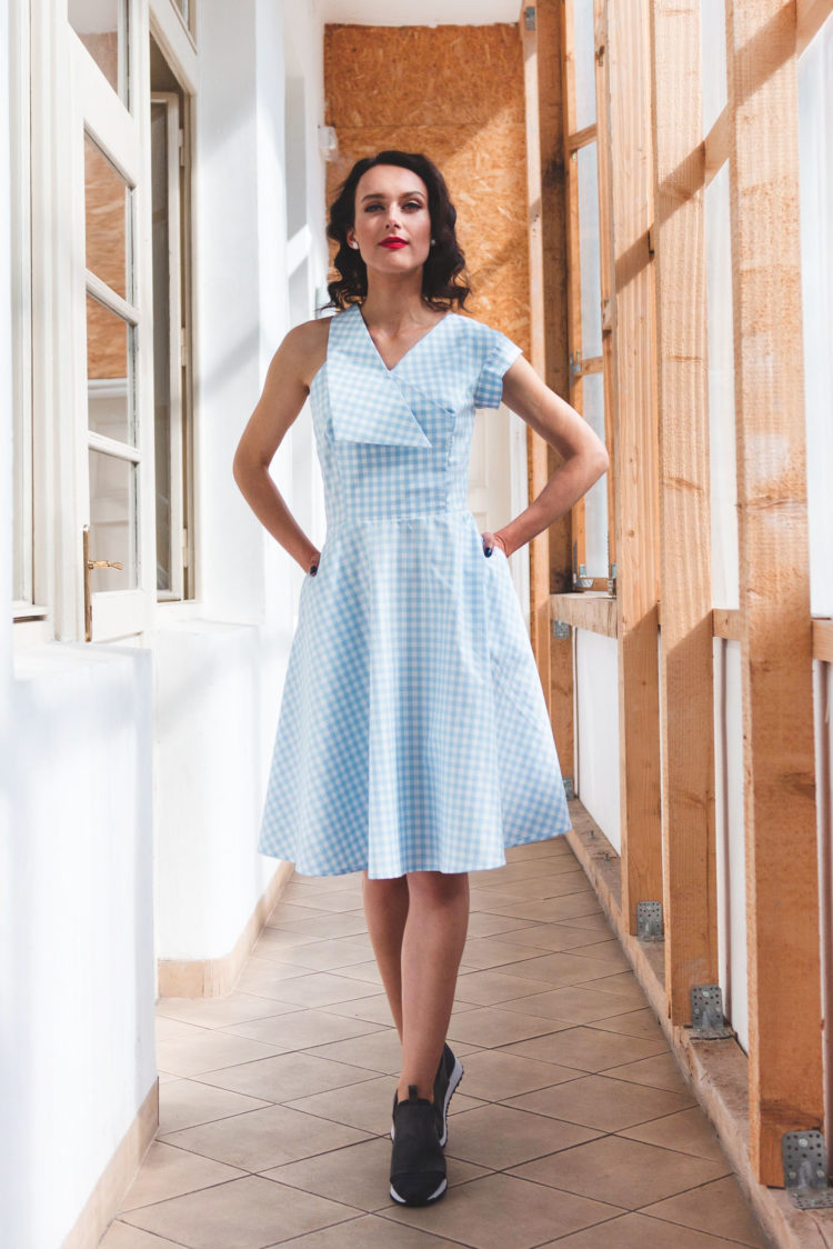 light blue white dress asymmetry