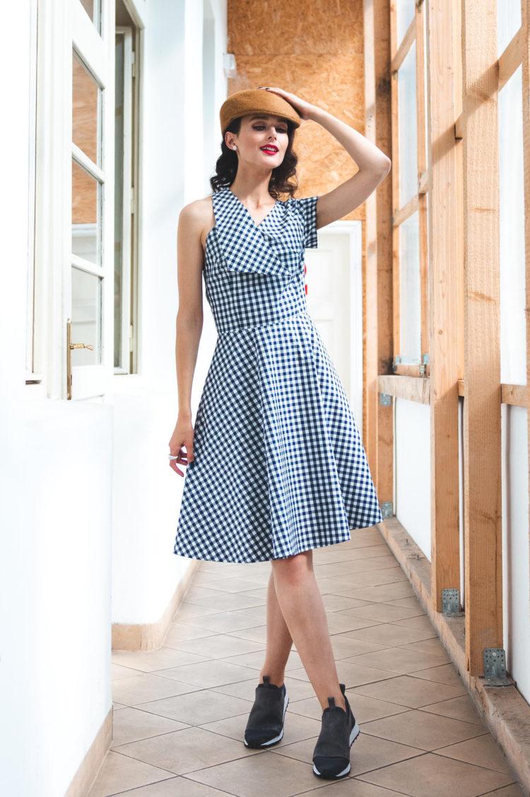 blue white dress asymmetry