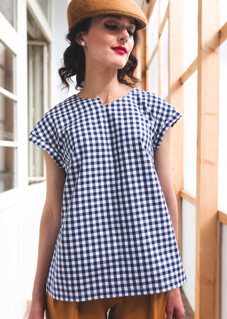 blue white blouse geometry